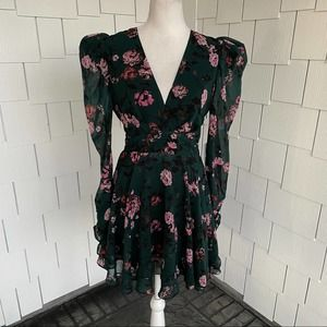 LINI Isabelle Puff-Sleeve Floral Mini Dress Size S